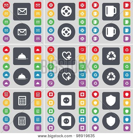 Message, Videotape, Cup, Tray, Heart, Recycling, Calculator, Socket, Badge Icon Symbol. A Large Set