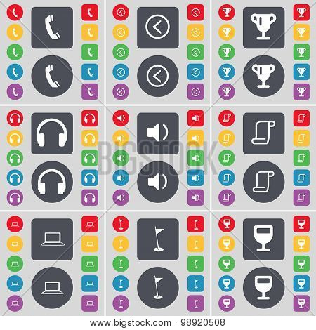 Receiver, Arrow Left, Cup, Headphones, Sound, Scroll, Laptop, Golf Hole, Wineglass Icon Symbol. A La