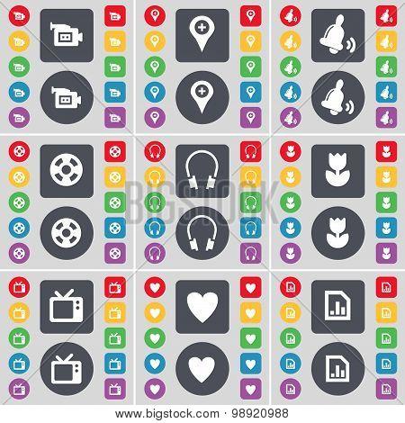 Film Camera, Checkpoint, Bell, Videotape, Headphones, Flower, Retro Tv, Heart, Diagram File Icon Sym