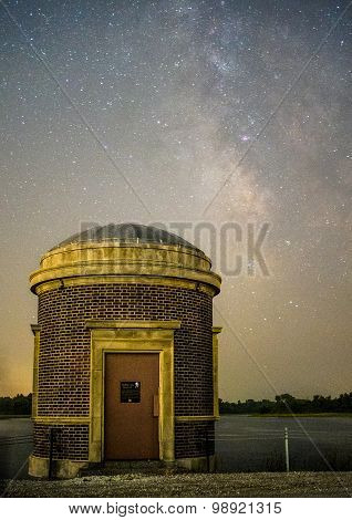 Reservoir entrance by the road with Milky Way galaxy in the background