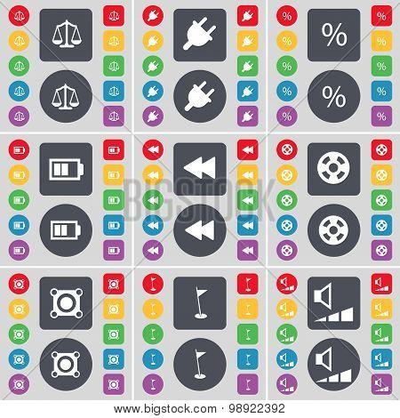 Scales, Socket, Percent, Battery, Rewind, Videotape, Speaker, Golf Hole, Volume Icon Symbol. A Large