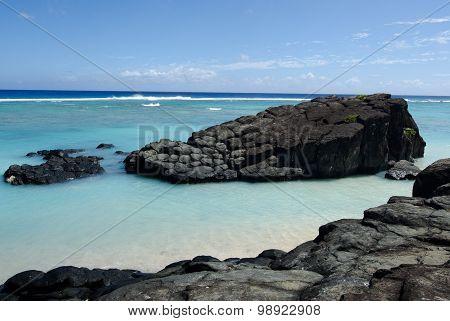 Black Rock In Rarotonga, Cook Islands