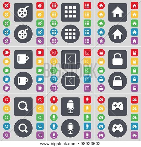 Videotape, Apps, House, Cup, Arrow Left, Lock, Magnifying Glass, Microphone, Gamepad Icon Symbol. A