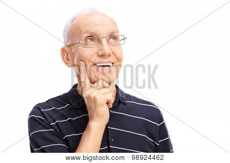 Close-up on a pensive senior in a blue shirt with white stripes looking up and thinking isolated on white background