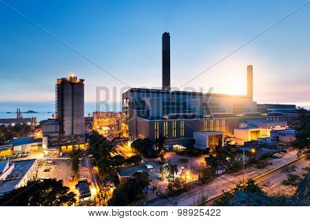 Industrial plant in Hong Kong during sunset