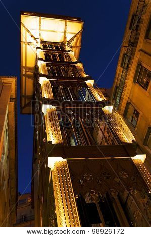 The Santa Justa Lift in the city of Lisbon, Portugal, Europe