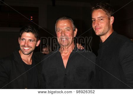 LOS ANGELES - AUG 15:  Robert Adamson, Eric Braeden, Justin Hartley at the