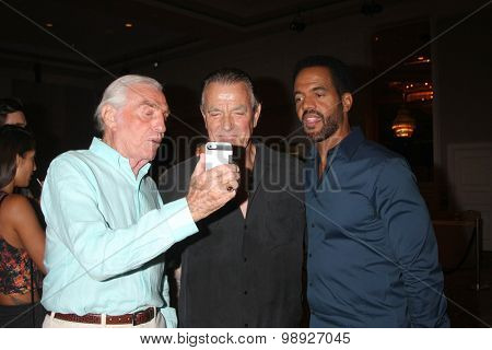 LOS ANGELES - AUG 15:  Jerry Douglas, Eric Braeden, Kristoff St. John at the