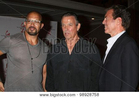 LOS ANGELES - AUG 15:  Terrell Tilford, Peter Bergman, Eric Braeden at the