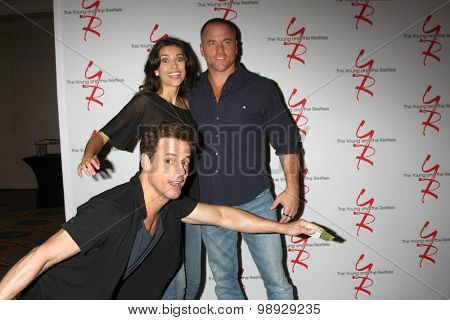 LOS ANGELES - AUG 15:  Sofia Pernas, Christian LeBlanc, Sean Carrigan at the