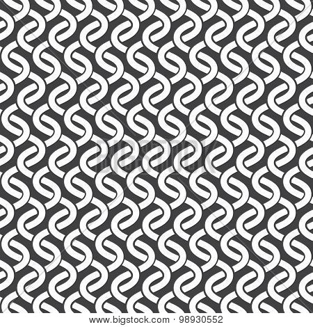 Seamless pattern of intersecting waves with swatch for filling. Celtic chain mail. Fashion geometric background for web or printing design. poster