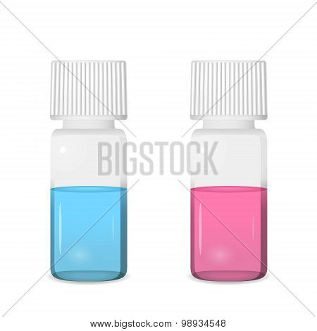 Two Vials With Colored Solutions