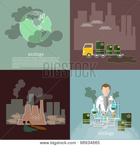 Pollution Ecology Smog In The City Contamination Garbage Disposal Waste Vector Icons