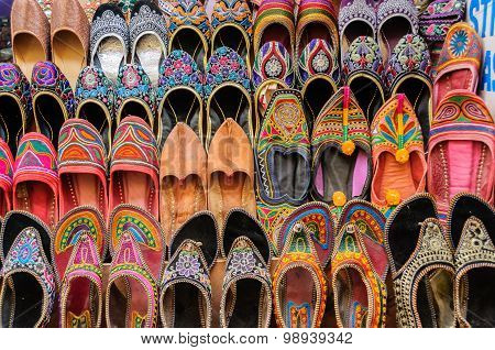 Collection Of Jutti Traditional Shoes Of Rajasthan, India