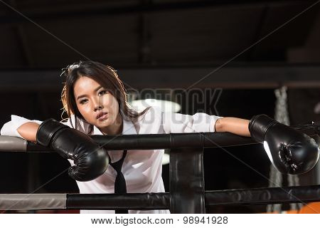 Loser Businesswoman On Boxing Ring