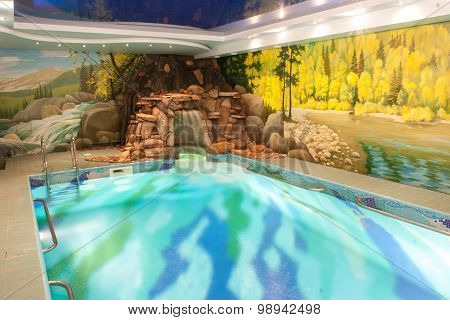Luxury swimming pool in hotel