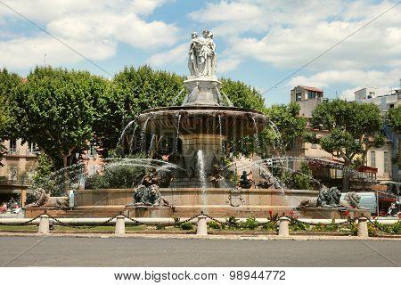 Fountain at La Rotonde Aix-en-Provence Provence France poster