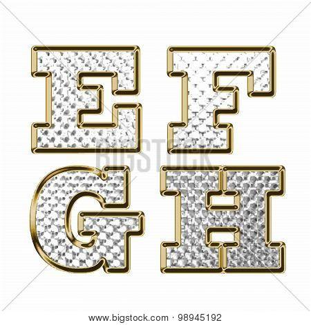 English Alphabet Gold Vector Illustration