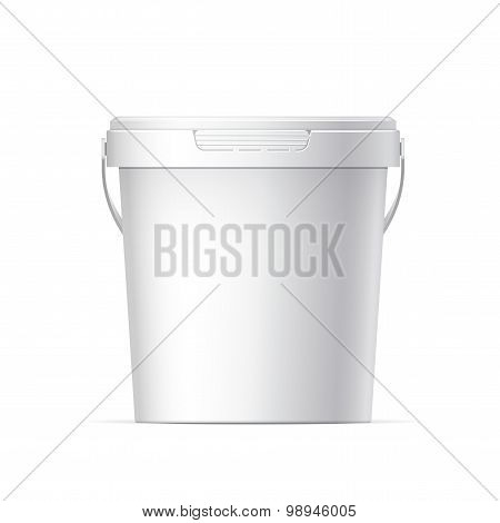 Small White plastic bucket with White lid. Product Packaging For food foodstuff or paints adhesives sealants primers putty. Vector illustration poster