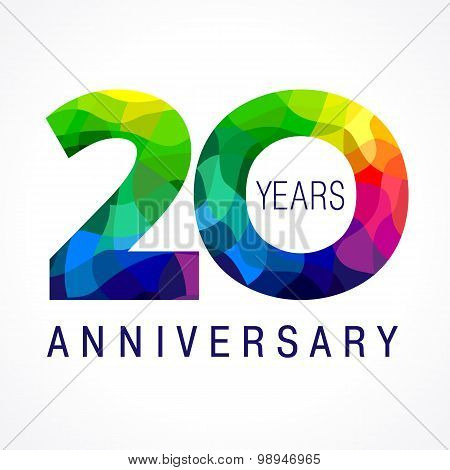 20 years old celebrating colored logo. Anniversary year of 20 th vector template numbers. Happy birthday greetings celebrates. Stained-glass digits of jubilee ages. Mosaic pattern figures in various colors.