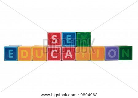 Sex Education In Toy Block Letters
