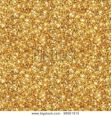 Gold Glitter Texture, Seamless Sequins Pattern.