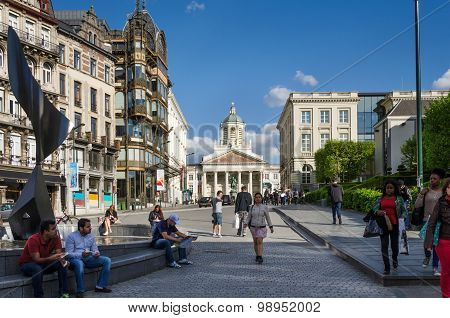Brussels, Belgium - May 12, 2015: Peoples Around Church Of Saint Jacques-sur-coudenberg