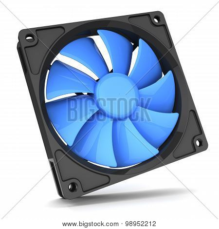 Blue Fan Cooler For Pc Isolated On White Background 3D