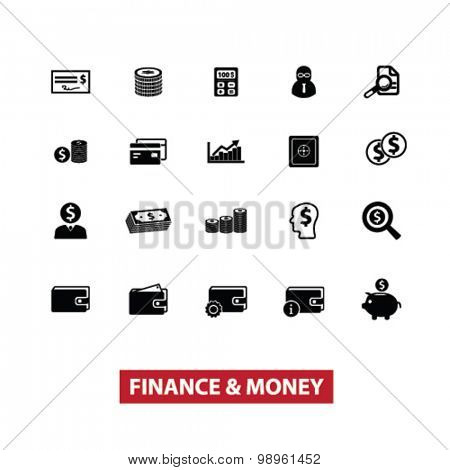 finance, money, bank, cash, casher black isolated icons, signs, illustrations for web, application, internet on white background