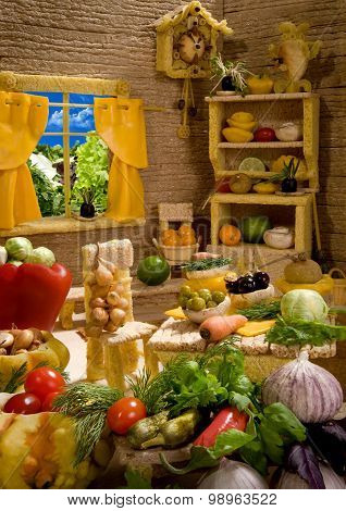 Kitchen Interior  Made From Food