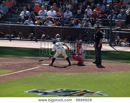Giants Cody Ross At Bat Taps Bat On Plate