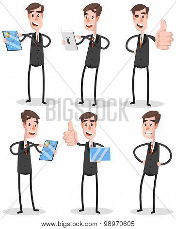 Set Flat Businessman With Tablet