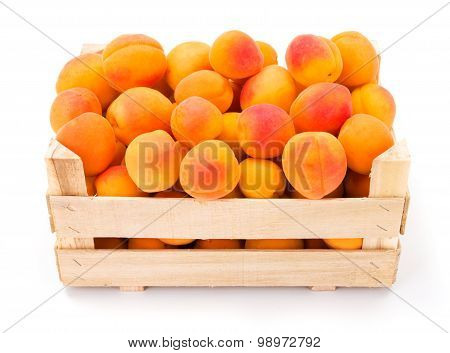 Peaches (prunus Persica) In Wooden Crate