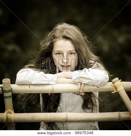Moving Into Adulthood. Outdoor Portrait Of Teenage Girl.