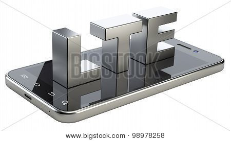 Lte Sign On Smart Phone Screen. High Speed Mobile Web Technology.