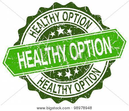 Healthy Option Green Round Retro Style Grunge Seal