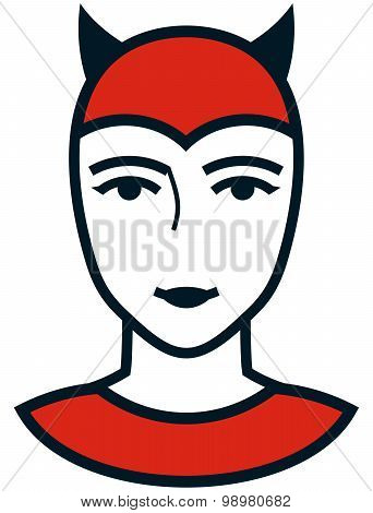 Vector Woman Devil Face Simple Illustration Isolated