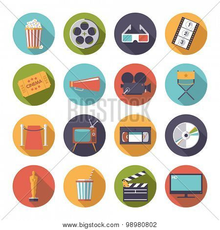 Circular movie and cinema icons vector set.. Collection of 16 flat design cinema and movie themed vector icons in circles