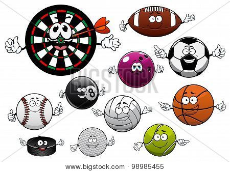 Cartoon dartboard, puck and sport balls