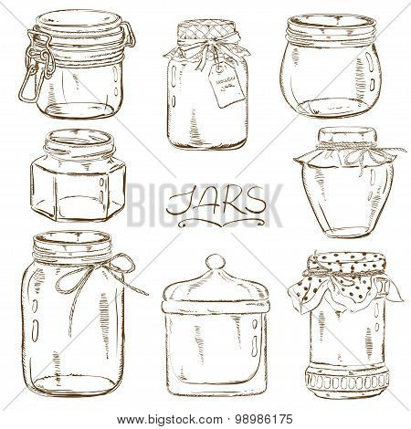Set Of Isolated Mason Jars.