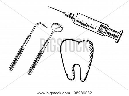 Icons of tooth, syringe, mirror and probe