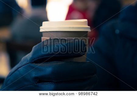 Hot Coffee With Grab With Hand Glove