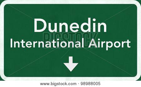 Dunedin New Zealand Airport Highway Sign