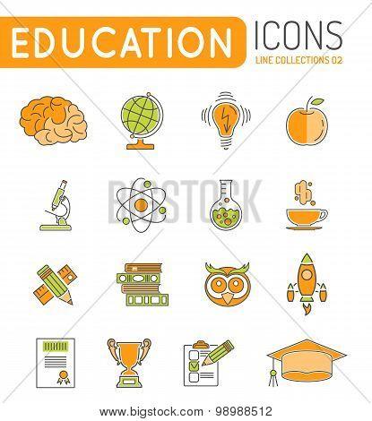 Online Education Thin Lines Color Web Icon Set