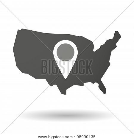 Usa Map Icon With A Map Mark