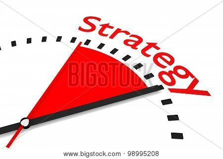 Clock With Red Area Strategy 3D Illustration