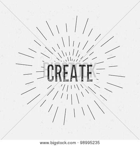 Abstract Creative concept vector design layout with text - create. For web and mobile icon isolated