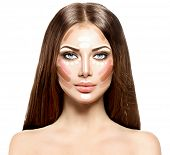 Make up woman face. Contour and Highlight makeup. Professional Contouring face make-up sample poster
