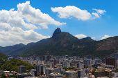 Mountain Corcovado Christ the Redeemer with clouds Rio de Janeiro Brazil. Selective focus poster