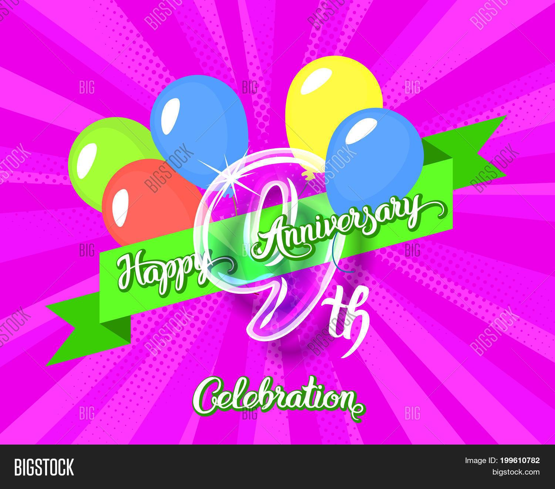 Happy 9th Anniversary Image Photo Free Trial Bigstock